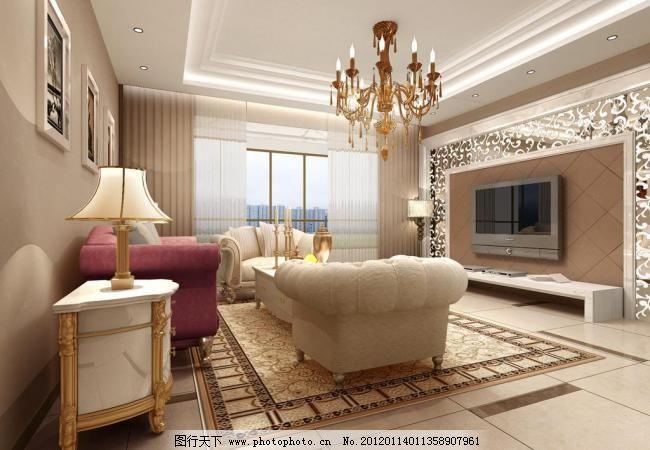 简欧式客厅 电视 家装 沙发 室内设计 台灯 简欧式客厅设计素材