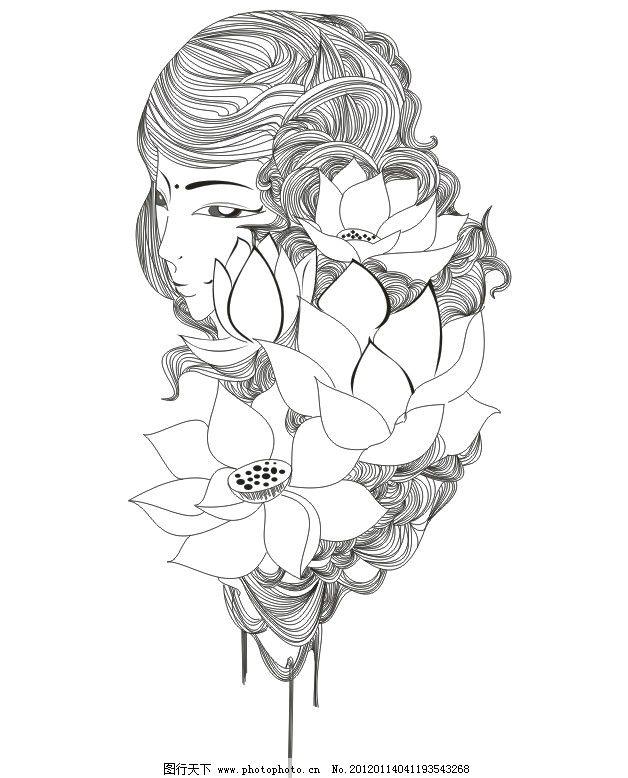 动画美女简笔画-荷塘印画 荷花 荷叶 荷塘雾 广告设计 画册设计 古典背