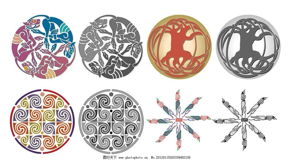 底纹 花纹 对称花纹 古典花纹 俄罗斯风格 印刷专用 精致 边角 装饰