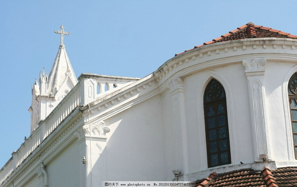 鼓浪屿 教堂 十字架 白墙 厦门 建筑景观 摄影