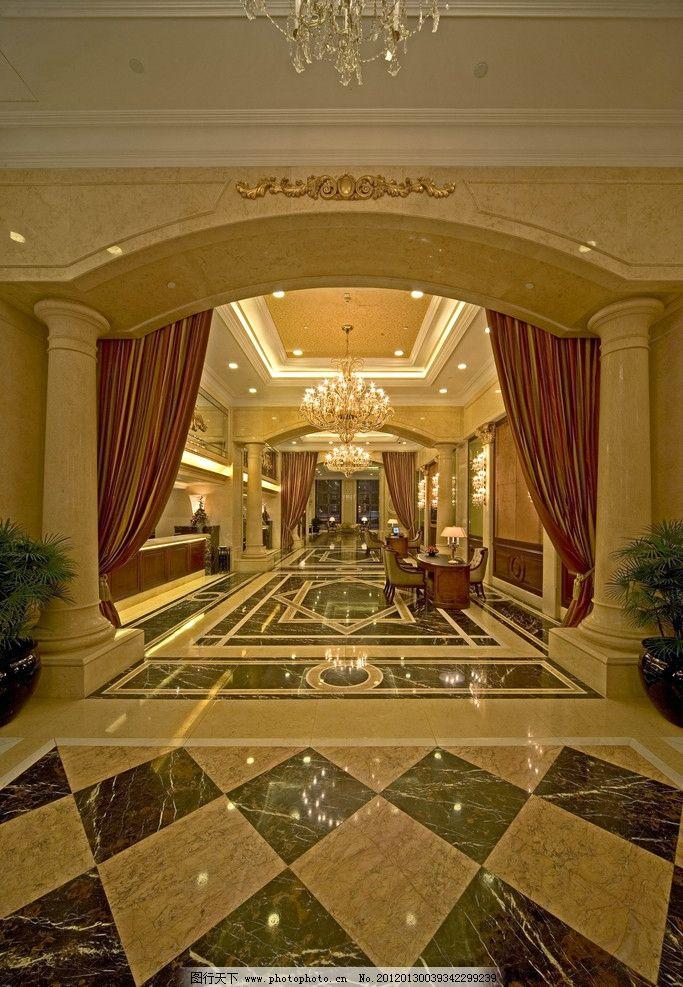 酒店空间 过道 客台 抛光砖 地面拼花 石材 灯饰 植物 瓷砖铺贴样板间