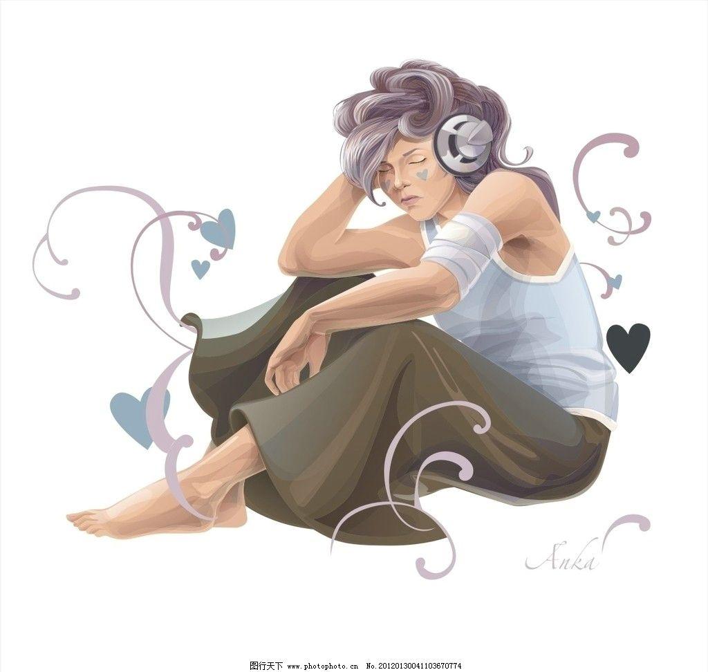 女孩画稿 时尚女孩 彩绘 手绘 水彩画 爱心 花纹 人物绘画图片素材