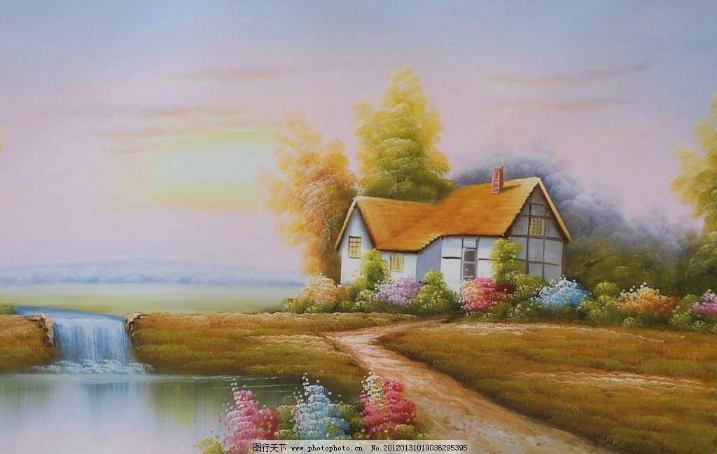 纵向欧式乡村小屋油画
