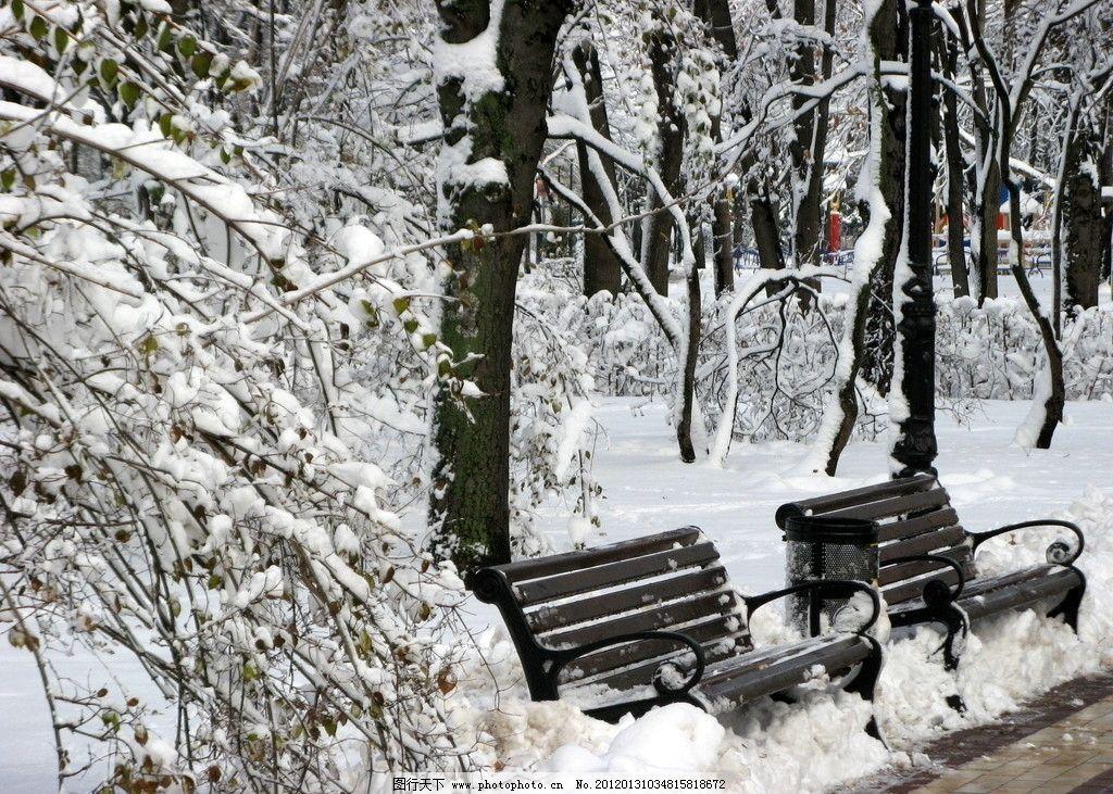 冬日雪景 冬日 冬季 冬天 大雪 下雪 公园 休闲 长椅 树木 风光方面