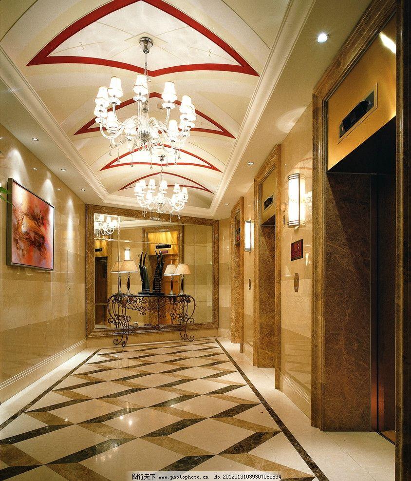 走廊过道电梯空间 走廊过道 灯具 抛光砖 地面拼花 石材 装饰画 瓷砖