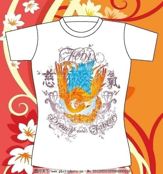 t恤花纹流行图案 凤凰 花朵 衣服 短袖 街头文化 衬衫 图腾