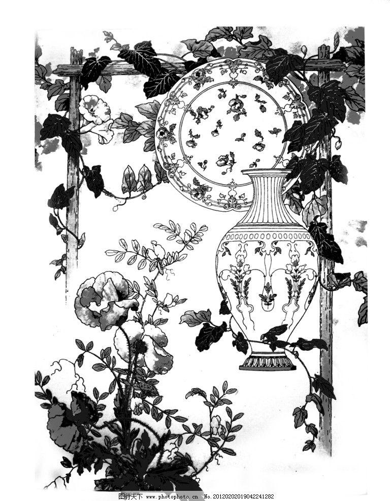 西方边框图案图饰 黑白 西方 树叶 边框 花瓶 瓷盘 花 藤蔓 绘画书法