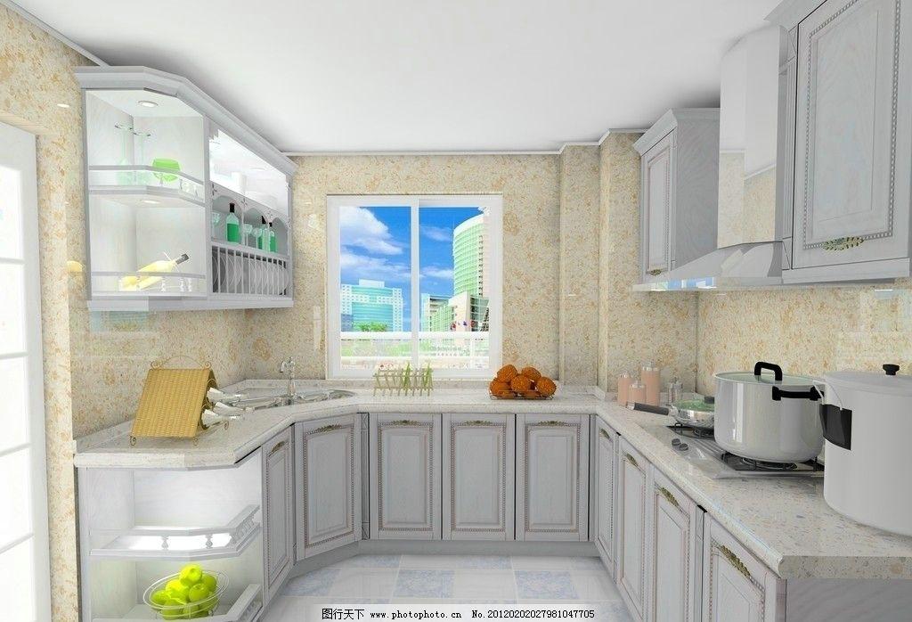 橱柜 厨柜 房间 厨房效果图 室内效果图 柜子 油烟机 室内设计图片