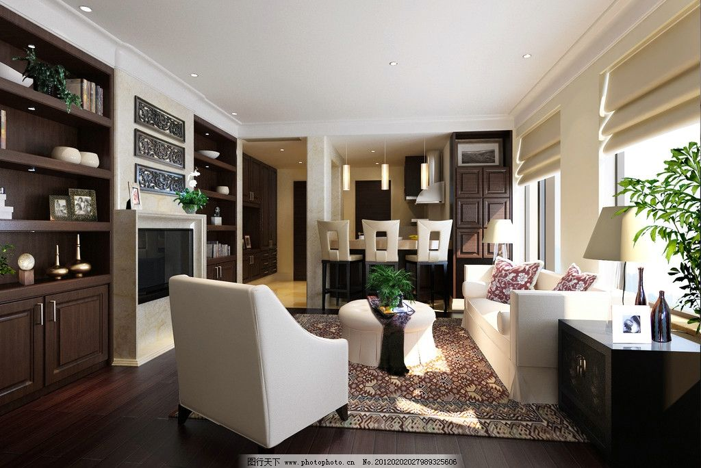 客厅效果图 沙发 柜子