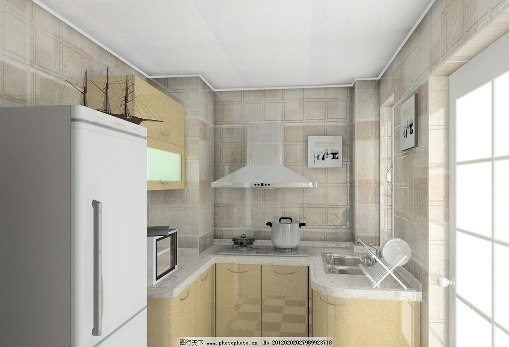 櫥柜 廚柜 房間 廚房效果圖 室內效果圖 柜子 油煙機 冰箱 室內