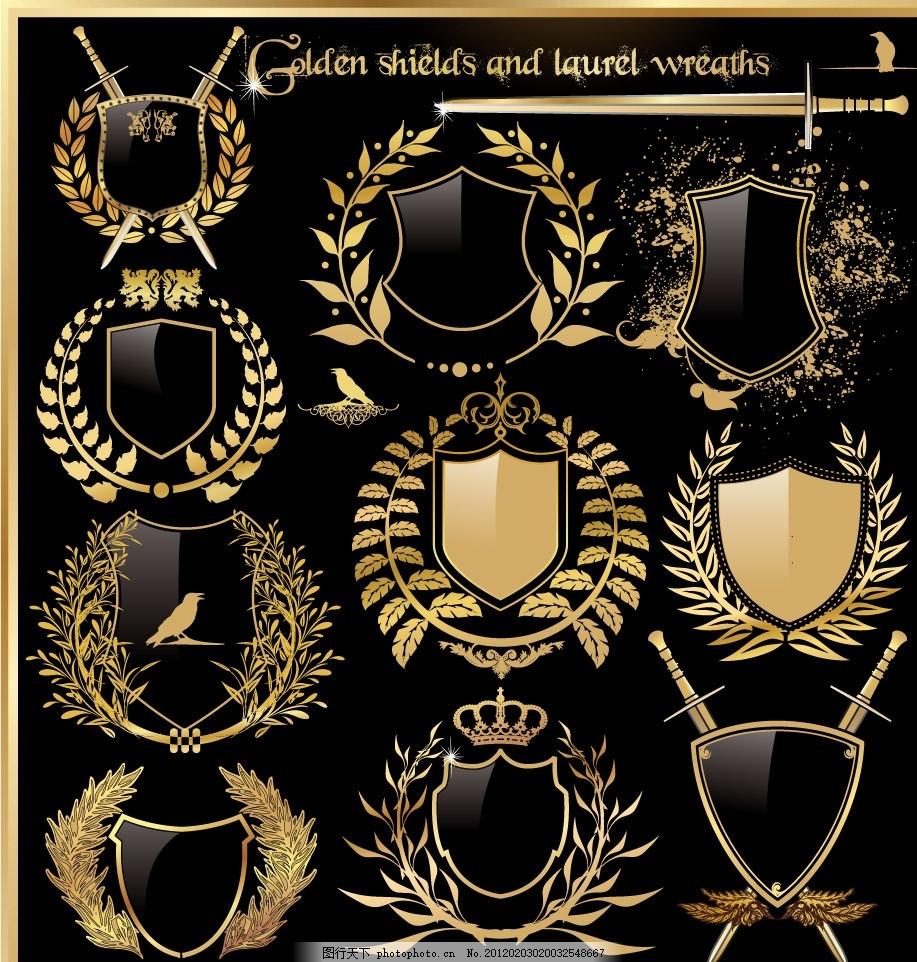 金色欧式标签贴纸矢量 古典 金边 花纹 花边 盾牌 小鸟 兵器