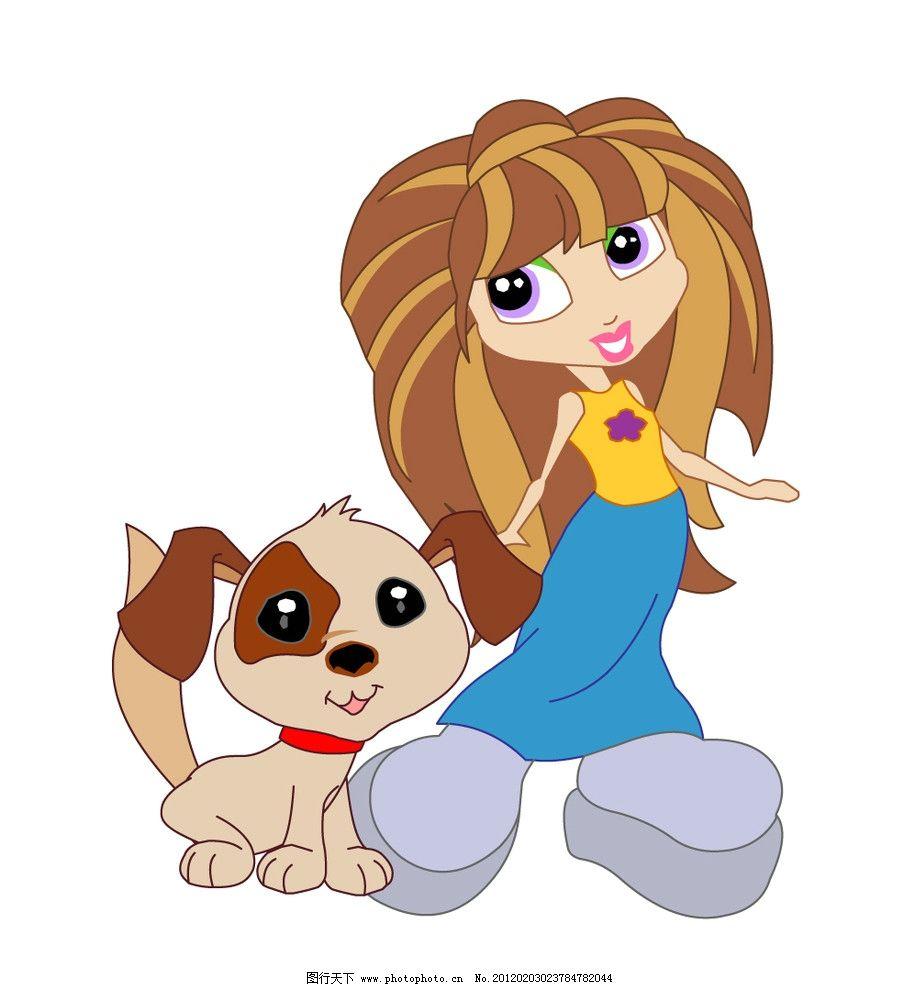 狗狗与主人 宠物 女孩 可爱 可爱女孩 韩国卡通 妇女女性 矢量人物