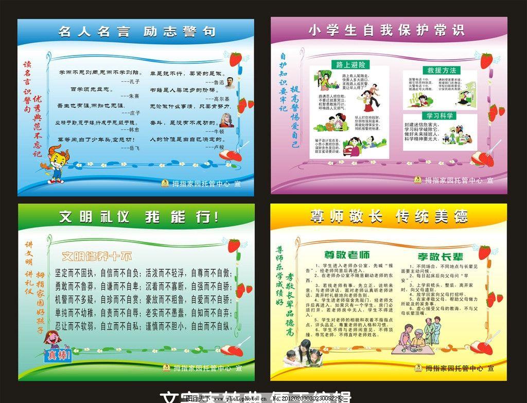 小学生卡通文明礼仪常识展板图片