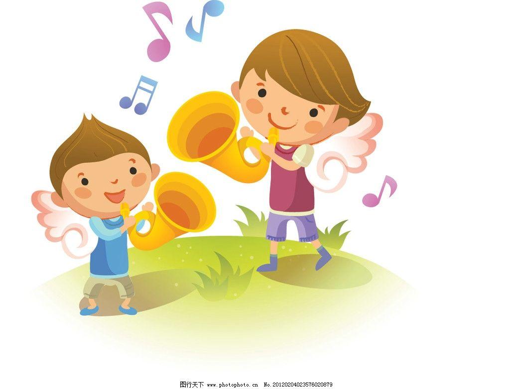 矢量儿童音乐会 卡通 可爱 喇叭 音乐符号 天使 翅膀 草地 矢量人物