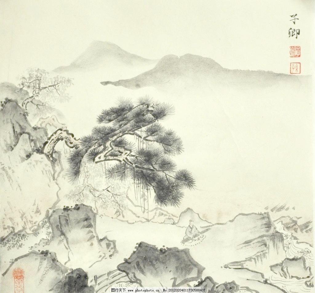 国画山水 彩墨山水画 风景画 国画山水模板下载 河流 绘画 绘画书法