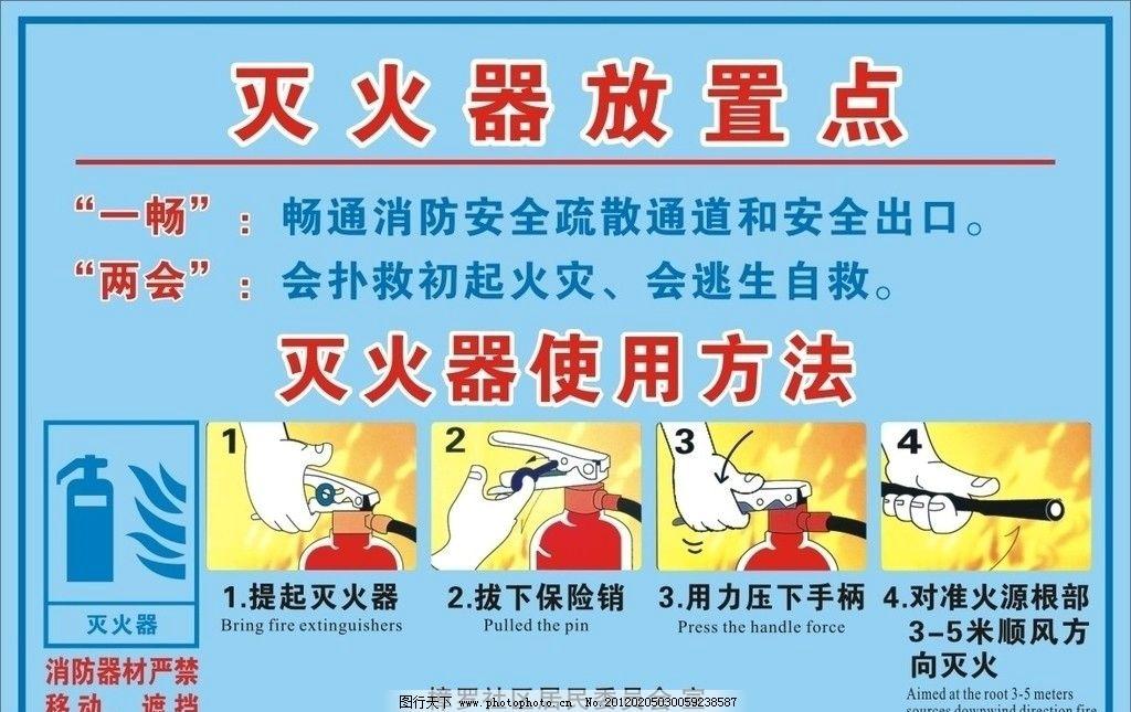 灭火器使用方法 一畅两会 社区消防 海报设计 广告设计 矢量 cdr