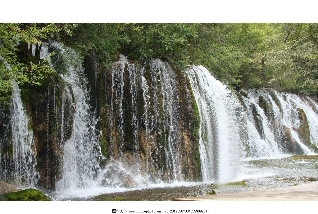 瀑布 河水 树木 山石 河桥 风景 自然风景 自然景观 摄影