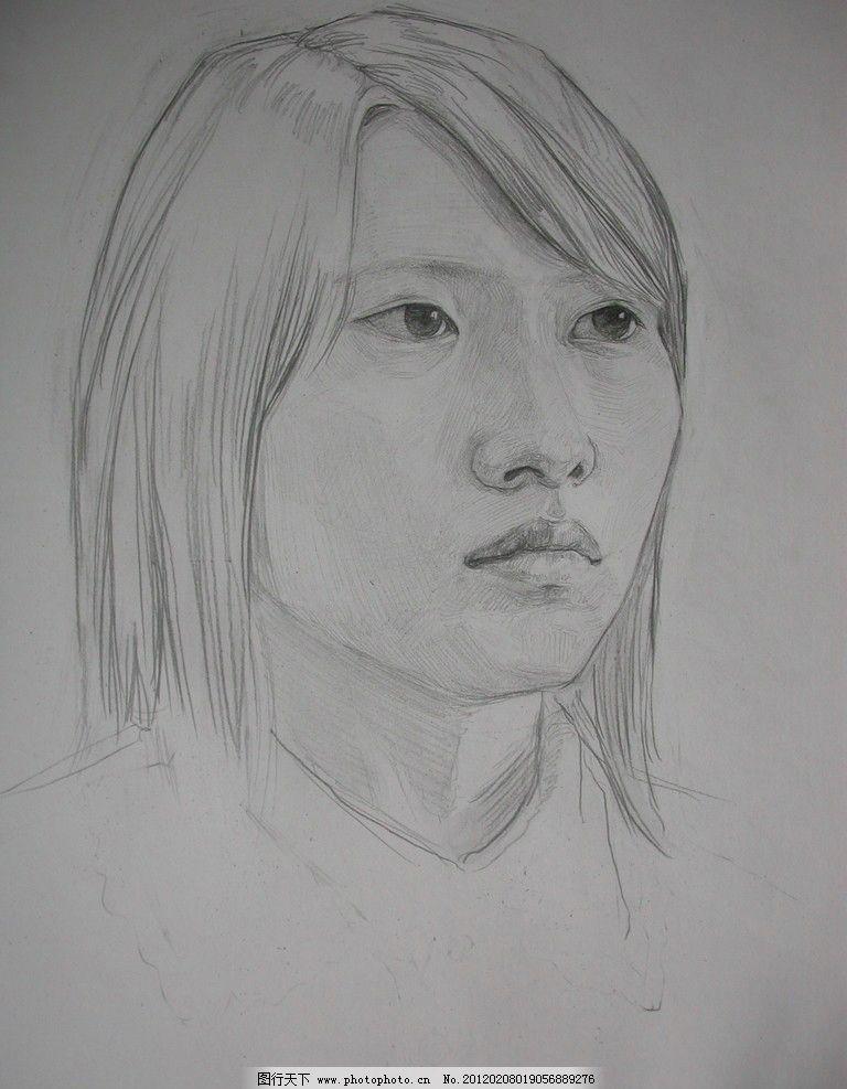 素描青年女子头像图片