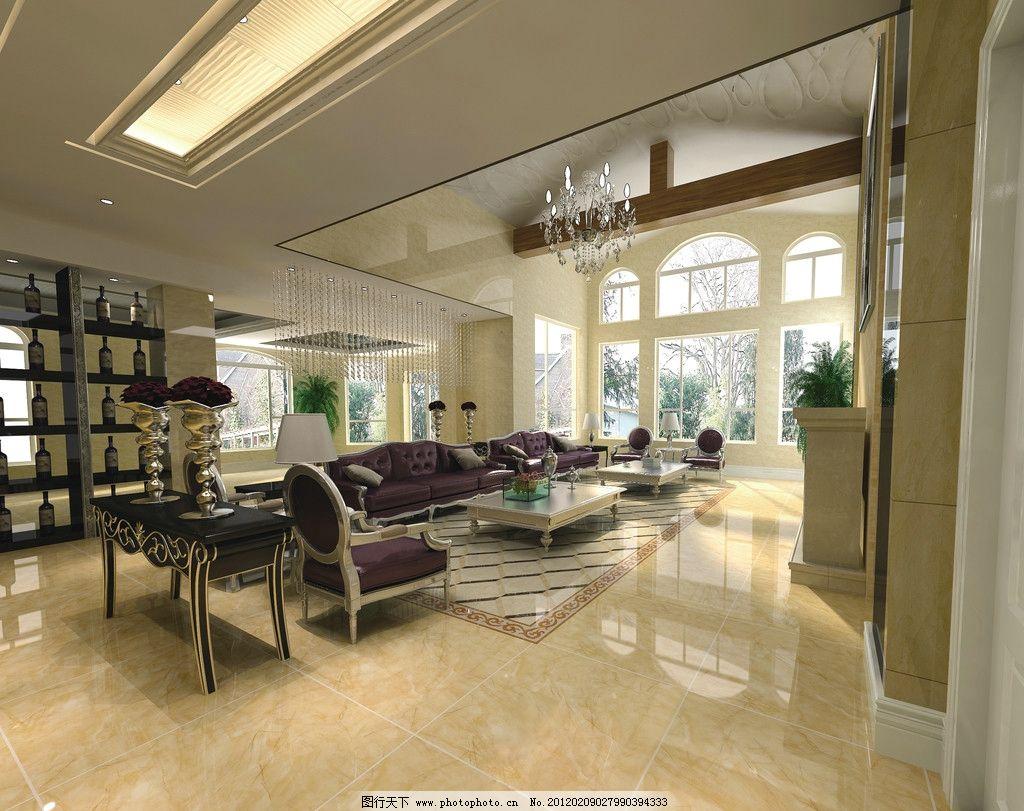 客厅 欧式风格 室内拼花 沙发 椅子 台灯 吊灯 珠帘 窗户