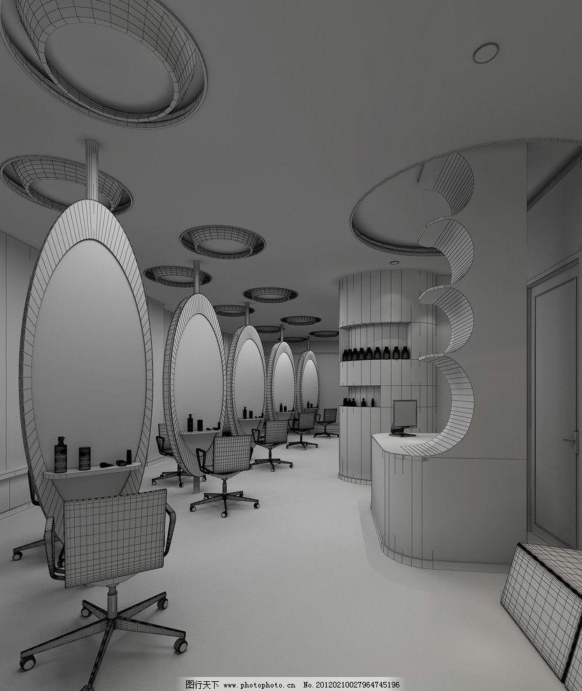 理发店线框图 室内设计 线框图 理发店 黑白 灯光 时尚 艺术 镜子