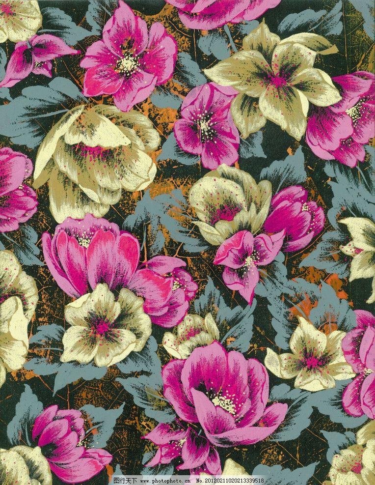 时尚花卉 水粉花卉 图案设计 底纹 花纹 背景底纹 底纹边框