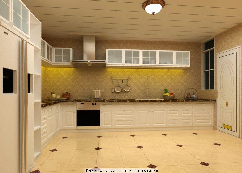 厨房设计 客厅效果图 家装 样板房 欧式 家居      墙纸 灯 门 橱柜