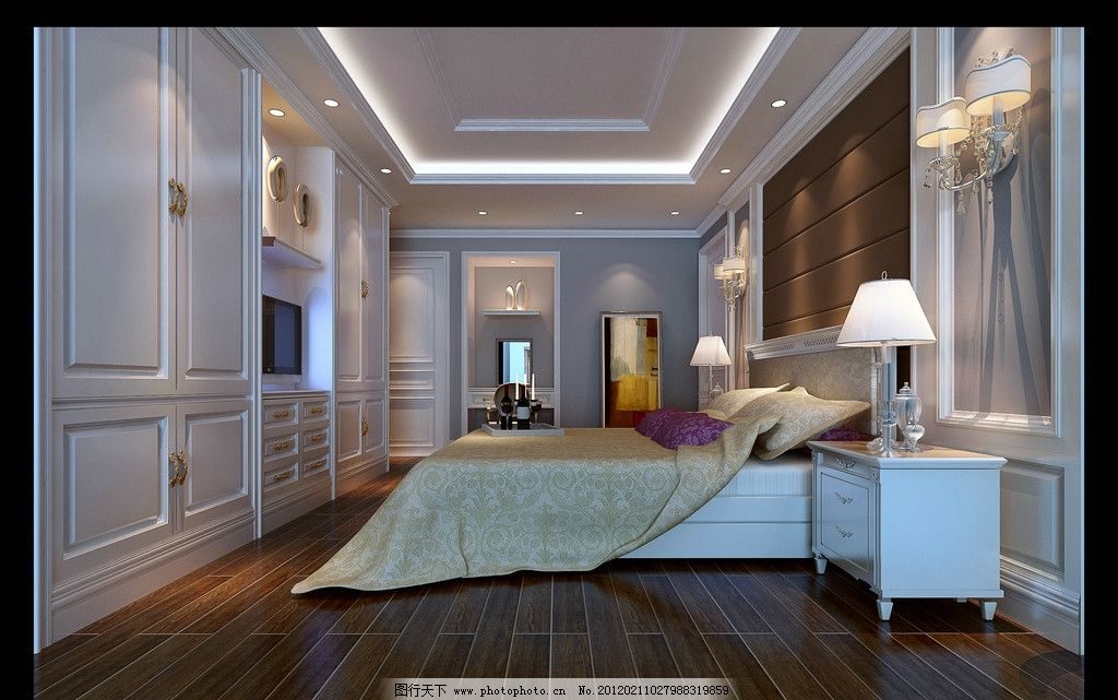 室内效果图 欧式风格 床 床头柜 台灯 衣橱 酒 镜子 壁灯 室内设计 环