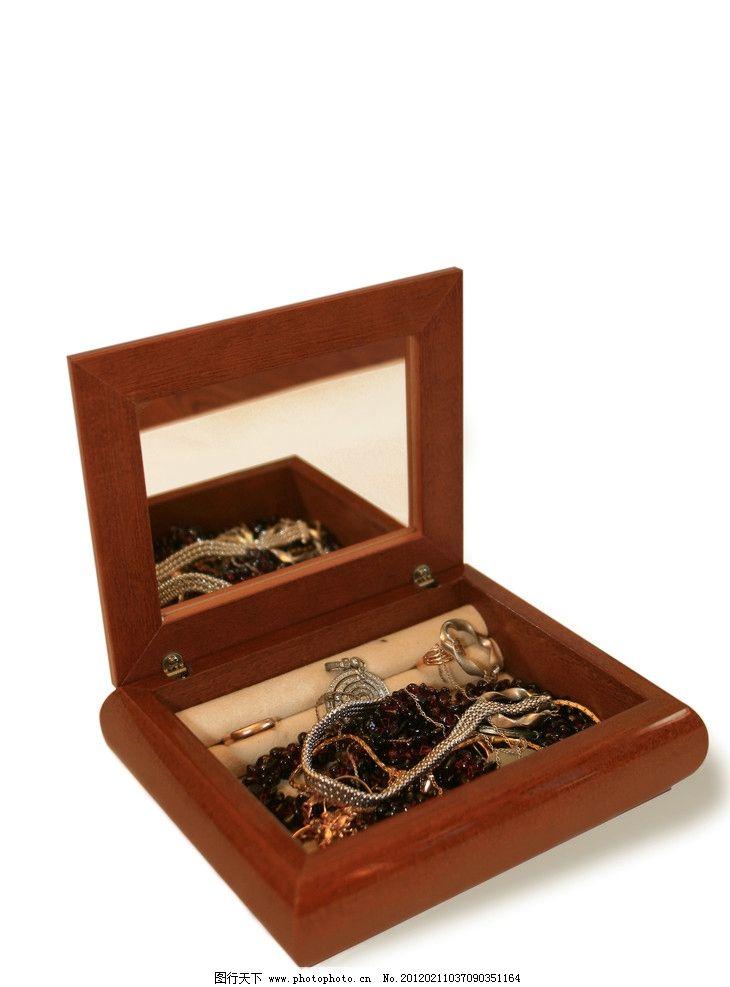 珠宝首饰盒 化妆盒 木头盒子 小镜子 生活素材 摄影