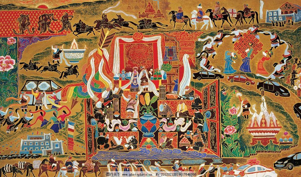 手绘彩画 西藏 墙绘 壁画