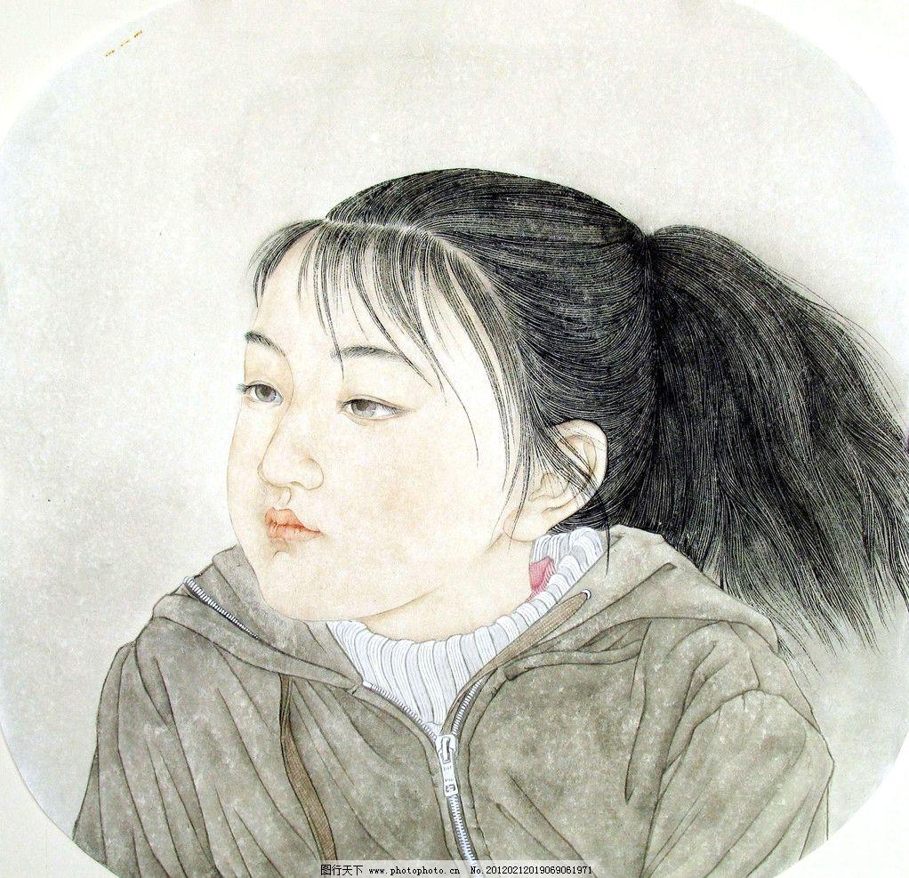 小女孩头像 美术 绘画 中国画 工笔画 人物画 女人 小女孩 小姑娘