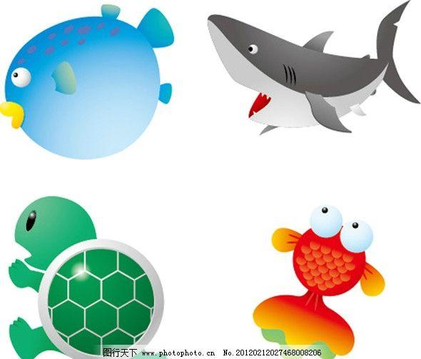 动物表情 乌龟 小鱼 鲸鱼 海洋生物 生物世界 矢量 ai