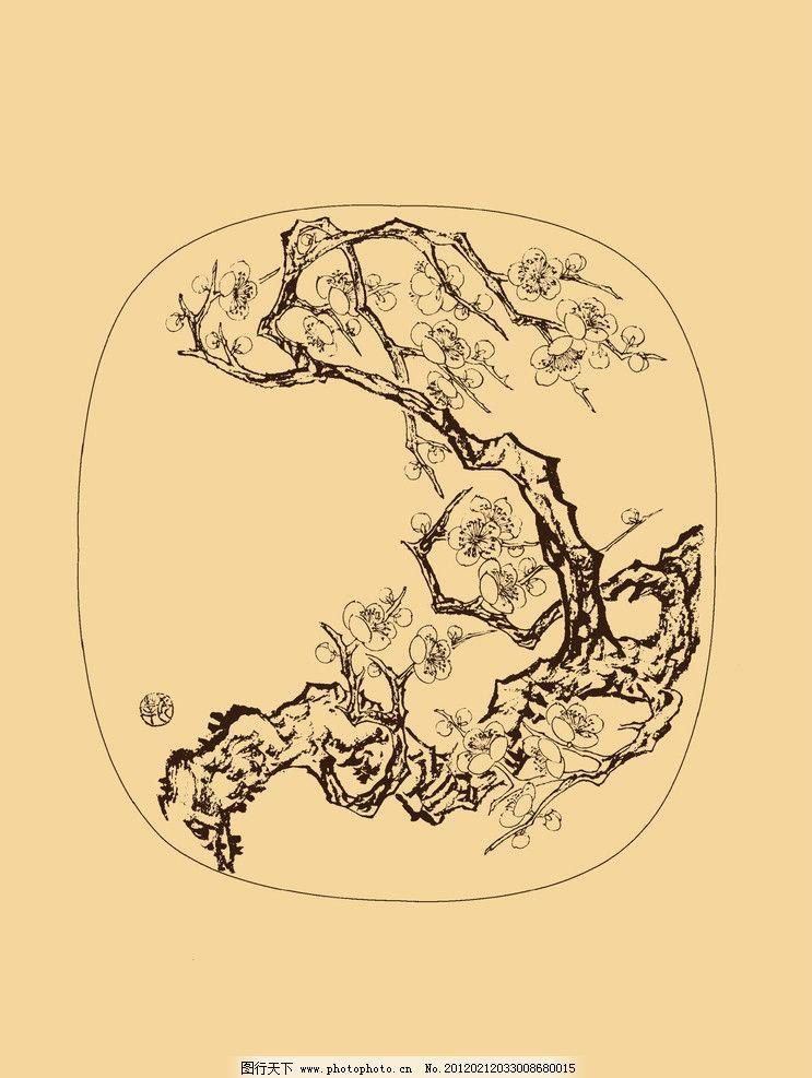团扇扇面梅花图 梅花 白描 国画 中国画 线描 勾勒 古典 花卉 圆形