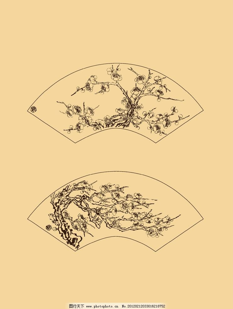 折扇扇面梅花 梅花 白描 国画 中国画 线描 勾勒 古典 花卉 扇面 扇子