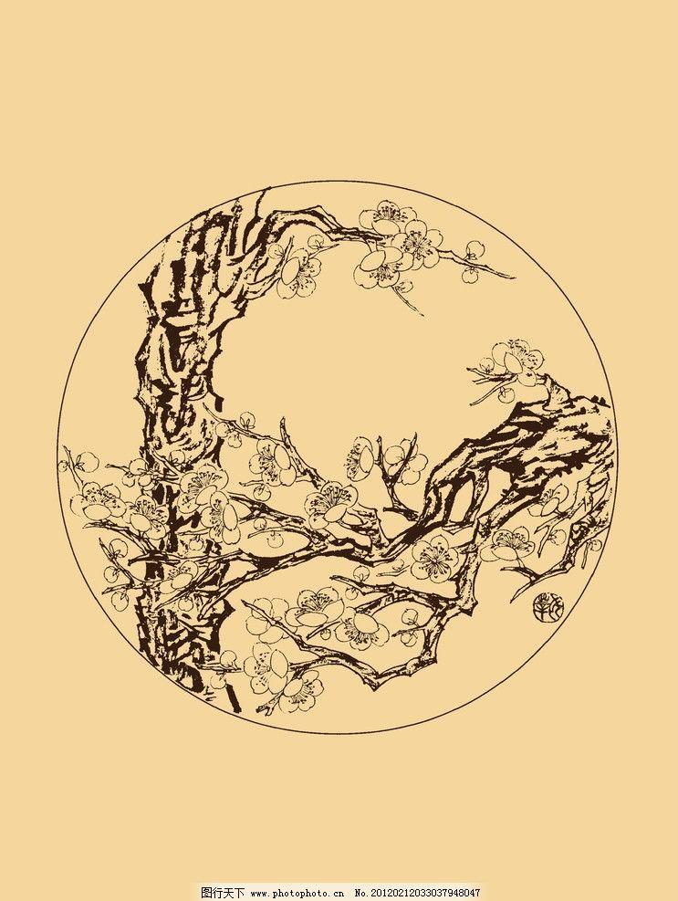 折枝梅花 梅花 白描 国画 中国画 线描 勾勒 古典 花卉 圆形 折枝花卉