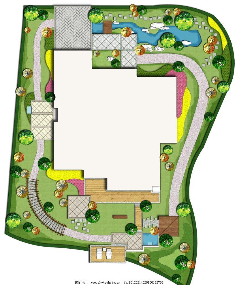 别墅庭院设计 建筑景观设计 彩色平面图 植物配置图 psd 景观平面图