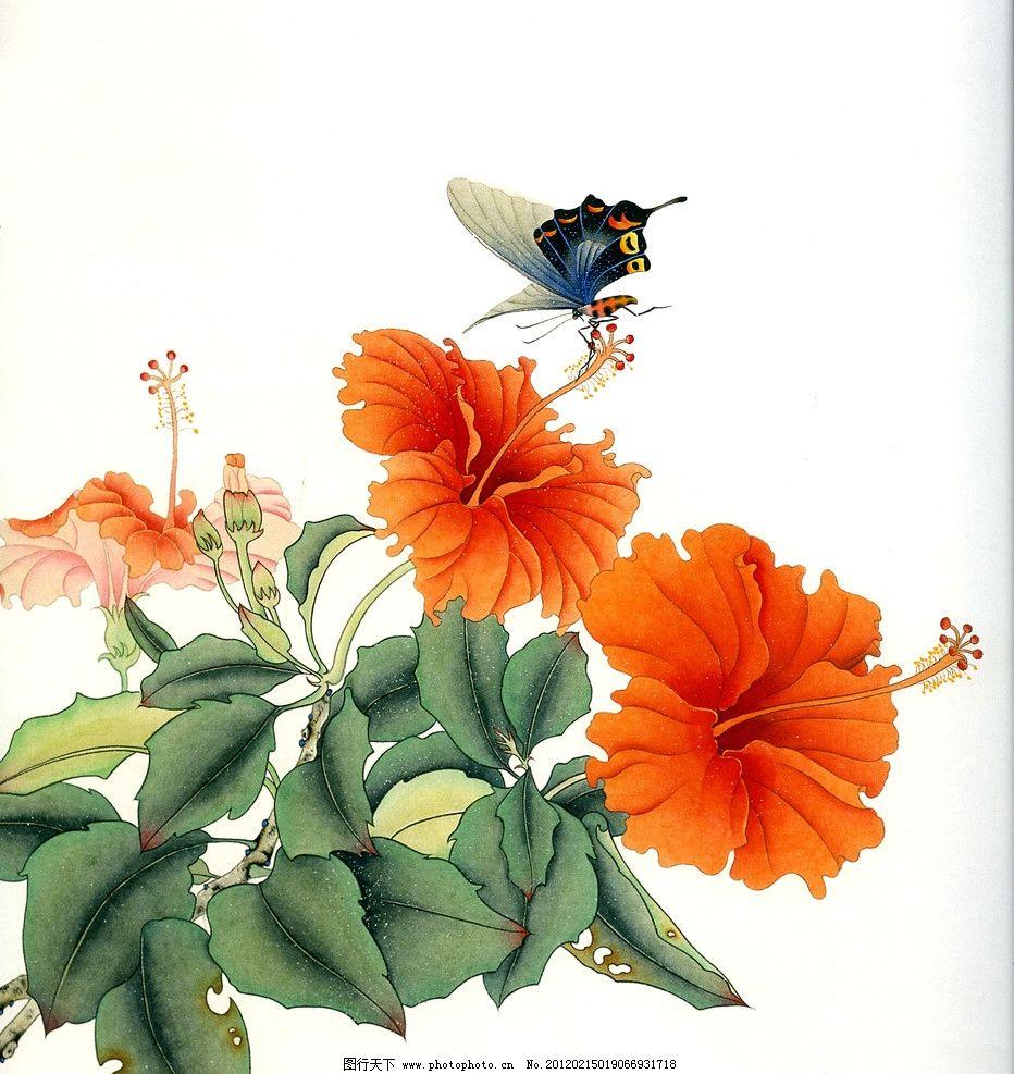 蝶恋花 红花 蝴蝶 工笔画 牡丹 绘画书法 文化艺术 设计 300dpi jpg