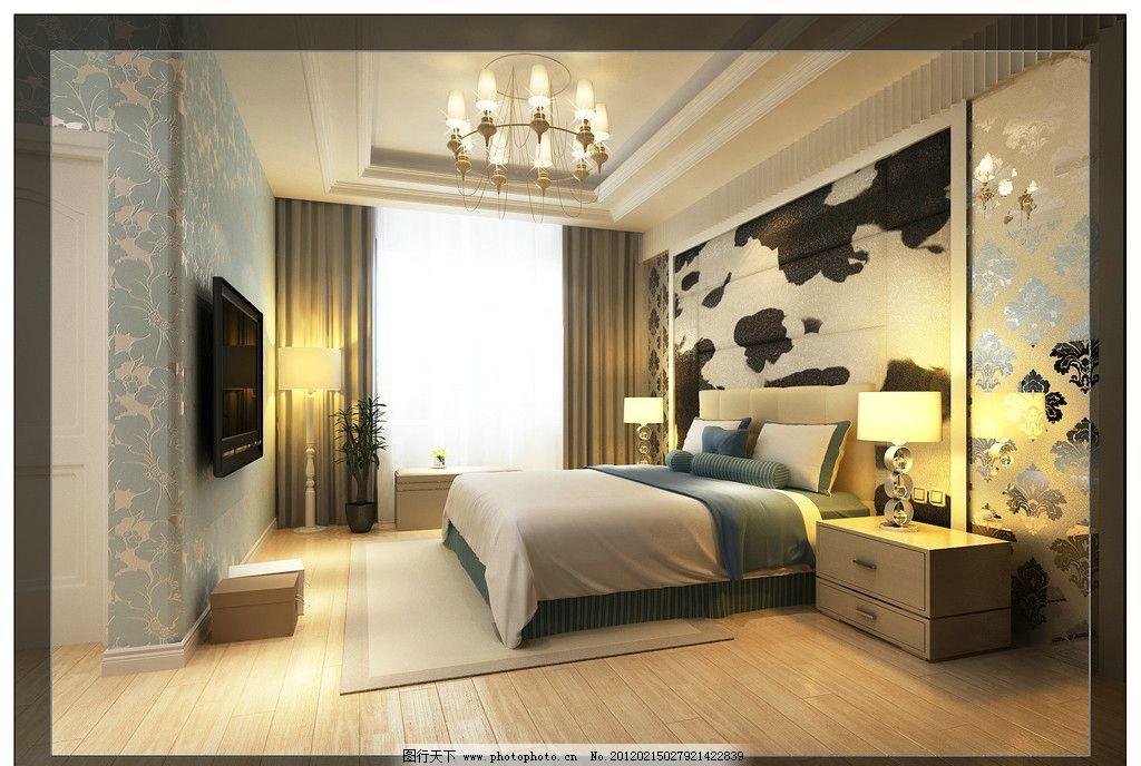 卧室效果图 室内效果图 墙纸 软装饰 地毯 工艺玻璃 窗帘 石膏线