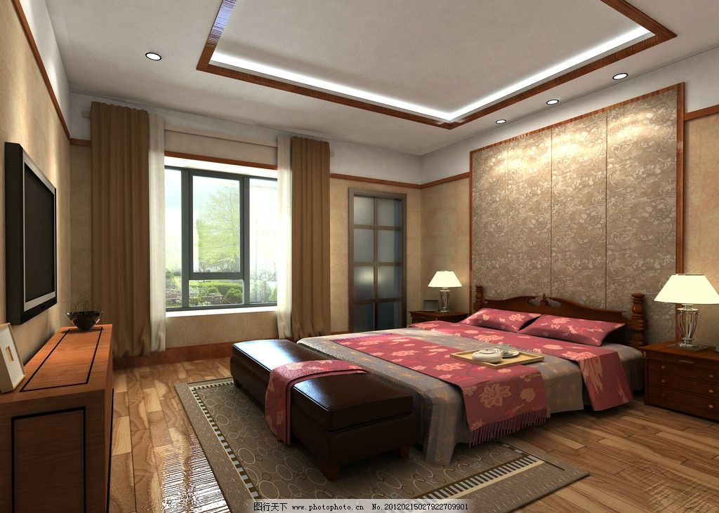 设计图库 环境设计 室内设计  卧室 家装 床 台灯 电视机 窗帘 窗子