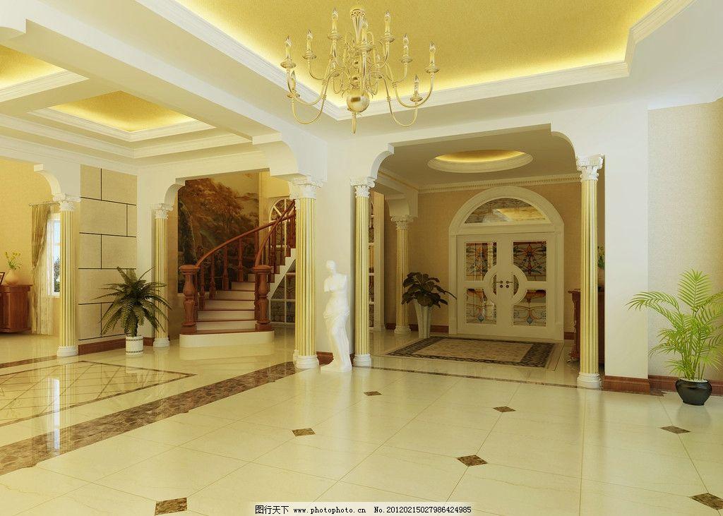 欧式豪华客厅 3d 欧式 豪华 罗马柱 瓷砖 吊顶 楼梯 花 拱形门 地毯