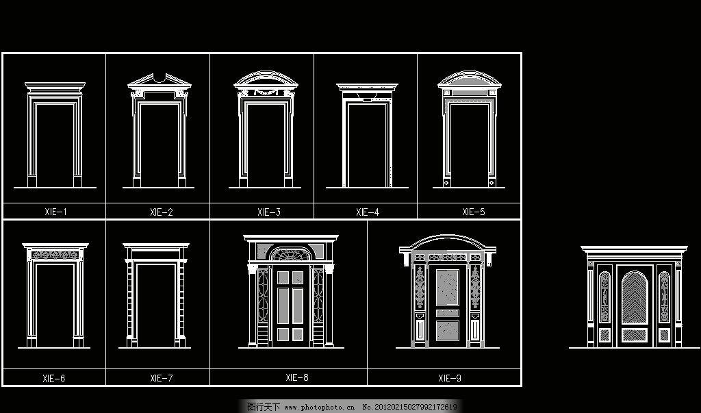 欧式构造 四方门套 建筑风格 欧式 古典 西式 室内设计 构件 装修 装饰 欧式构造之CAD装饰图库 环境设计 源文件 DWG