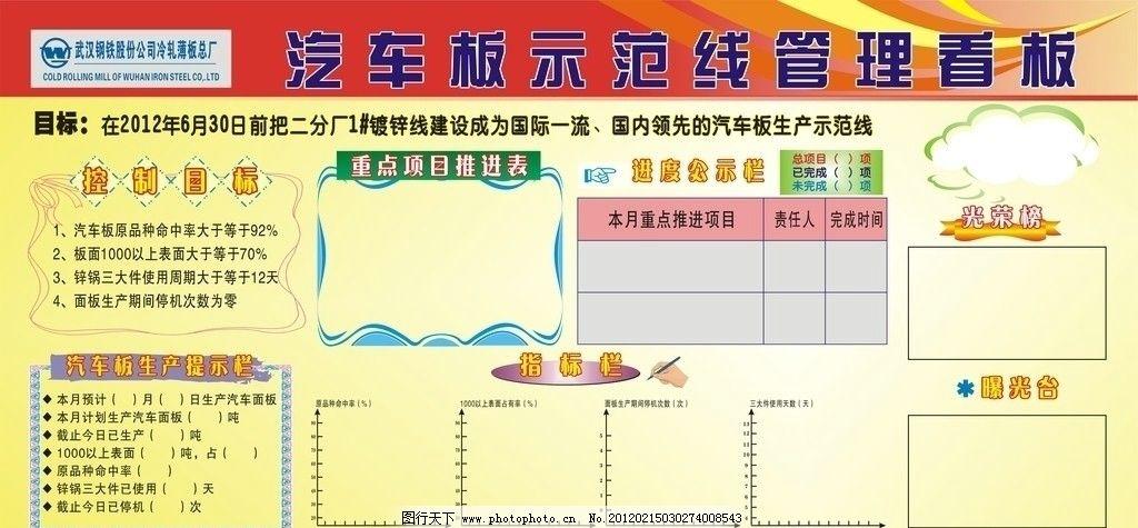 汽车看板 示范线管理 武汉钢铁股份公司 武钢标志 光荣榜 曝光台
