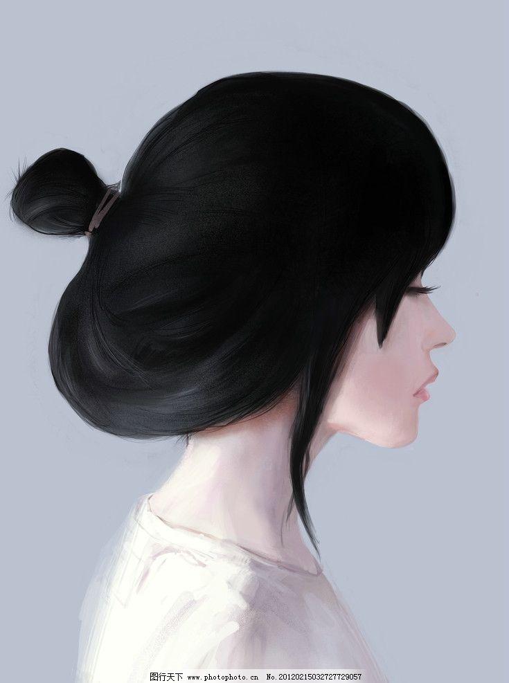 手绘女生侧面 唯美 黑色头发 人物 源文件