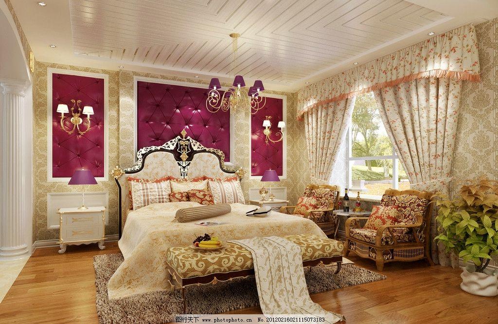 欧式卧室      3d效果图 室内设计 漂亮效果图 豪华卧室 欧式风格卧室