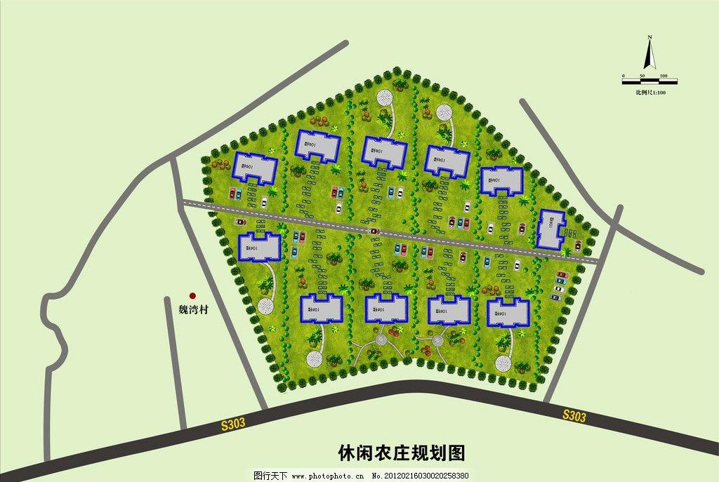 休闲农庄规划图 魏湾村线条 海报设计 广告设计模板 源文件 300dpi