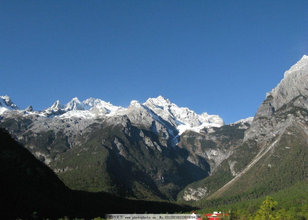 玉龙雪山 雪山 树林 远山 风景 蓝天 云南印象 国内旅游 旅游摄影