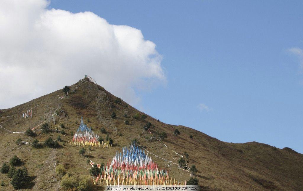 藏区 山坡 真言 经幡 西藏风景 自然风景 自然景观 摄影 300dpi jpg