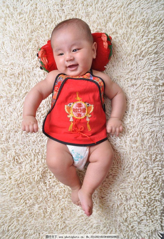 可爱宝宝 幼儿 笑 肚兜 儿童幼儿 摄影