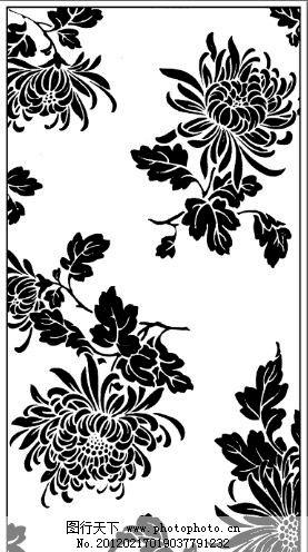 黑白装饰画菊花 黑白装饰画 菊花 古典 艺术 花卉植物 图案装饰 美术