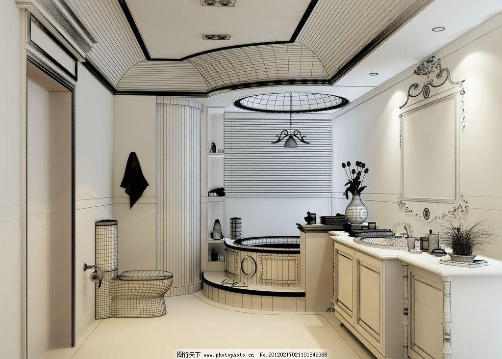欧式 浴室 欧式边框镜子 拼花地砖 浴室柜 大理石泡澡台 桑拿木吊顶