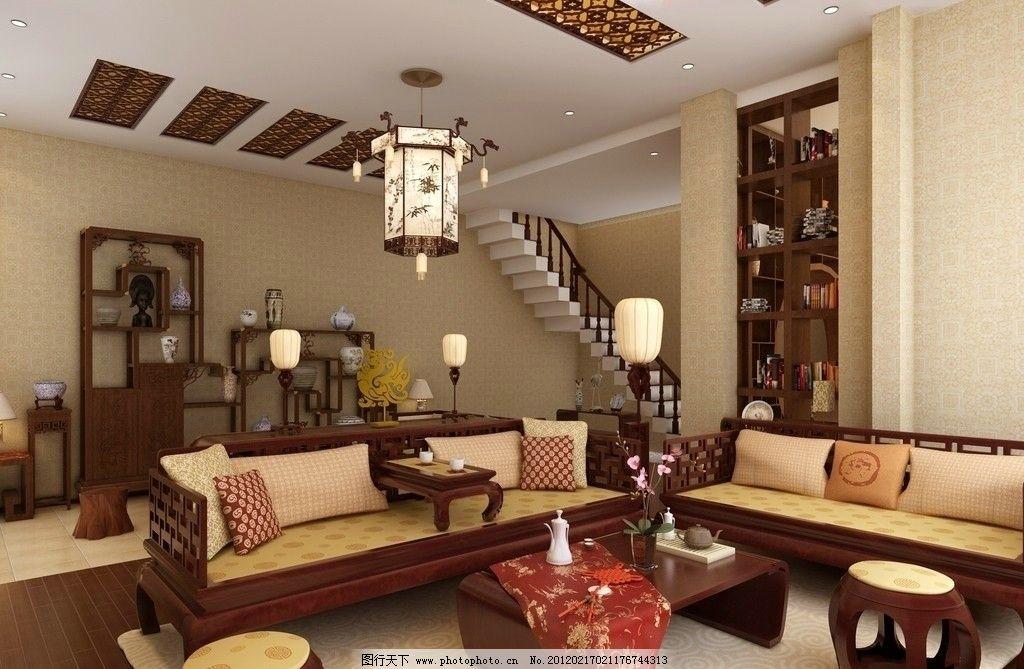 实木中式沙发 皇宫地灯